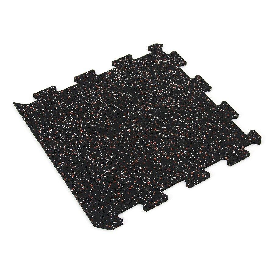 Černo-bílo-červená gumová puzzle modulová dlažba FLOMA SF1050 FitFlo - délka 47,8 cm, šířka 47,8 cm a výška 0,8 cm