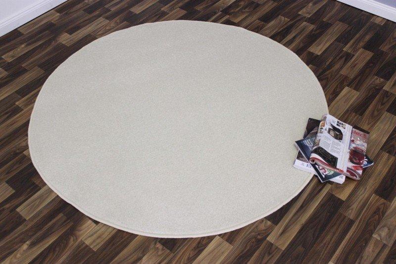 Béžový kusový kulatý koberec Nasty