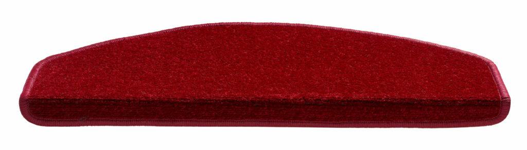 Červený kobercový půlkruhový nášlap na schody Parma - délka 65 cm a šířka 25 cm