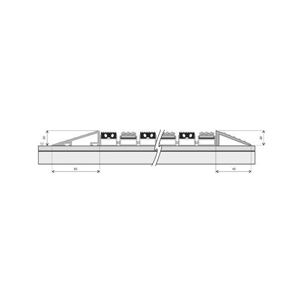 Hliníkový náběhový rám pro vstupní rohože a čistící zóny FLOMA - délka 1 cm, šířka 6,5 cm a výška 2 cm
