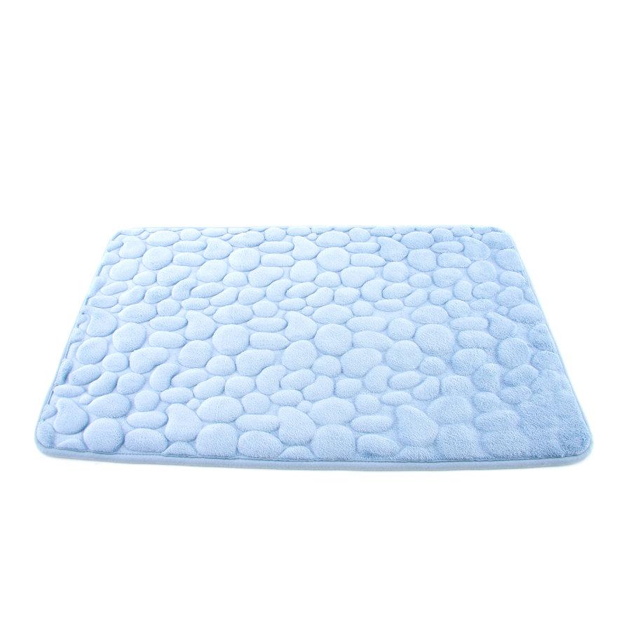 Modrá koupelnová pěnová předložka 01 - délka 81 cm a šířka 51 cm