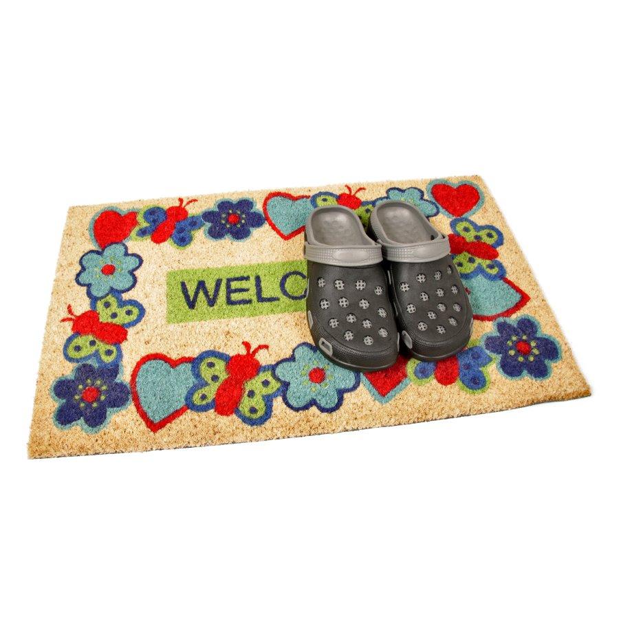 Kokosová vstupní venkovní čistící rohož Welcome - Cheerful, FLOMA - délka 45 cm, šířka 75 cm a výška 1,7 cm