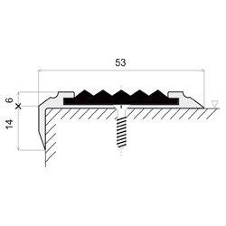 Černá hliníková schodová metrážová hrana s protiskluzovým páskem Antislip, FLOMAT - šířka 5,3 cm a výška 2 cm