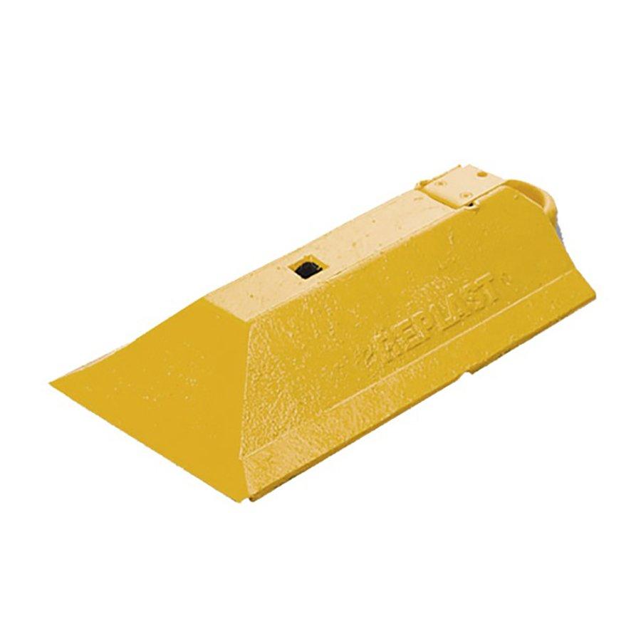 """Žlutá plastová koncovka pro vodící prahy CZ 3 """"samice"""" - délka 49 cm, šířka 24,8 cm a výška 9 cm"""