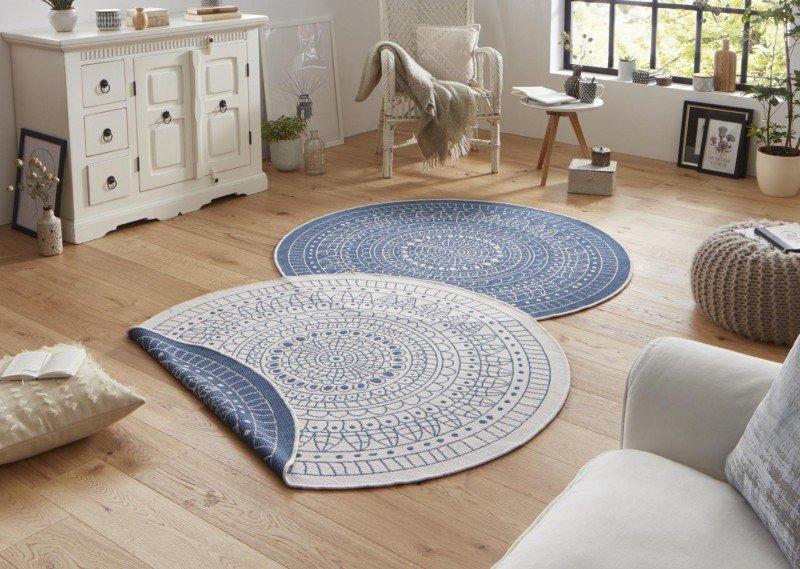 Modrý kusový oboustranný moderní kulatý koberec Twin-Wendeteppiche