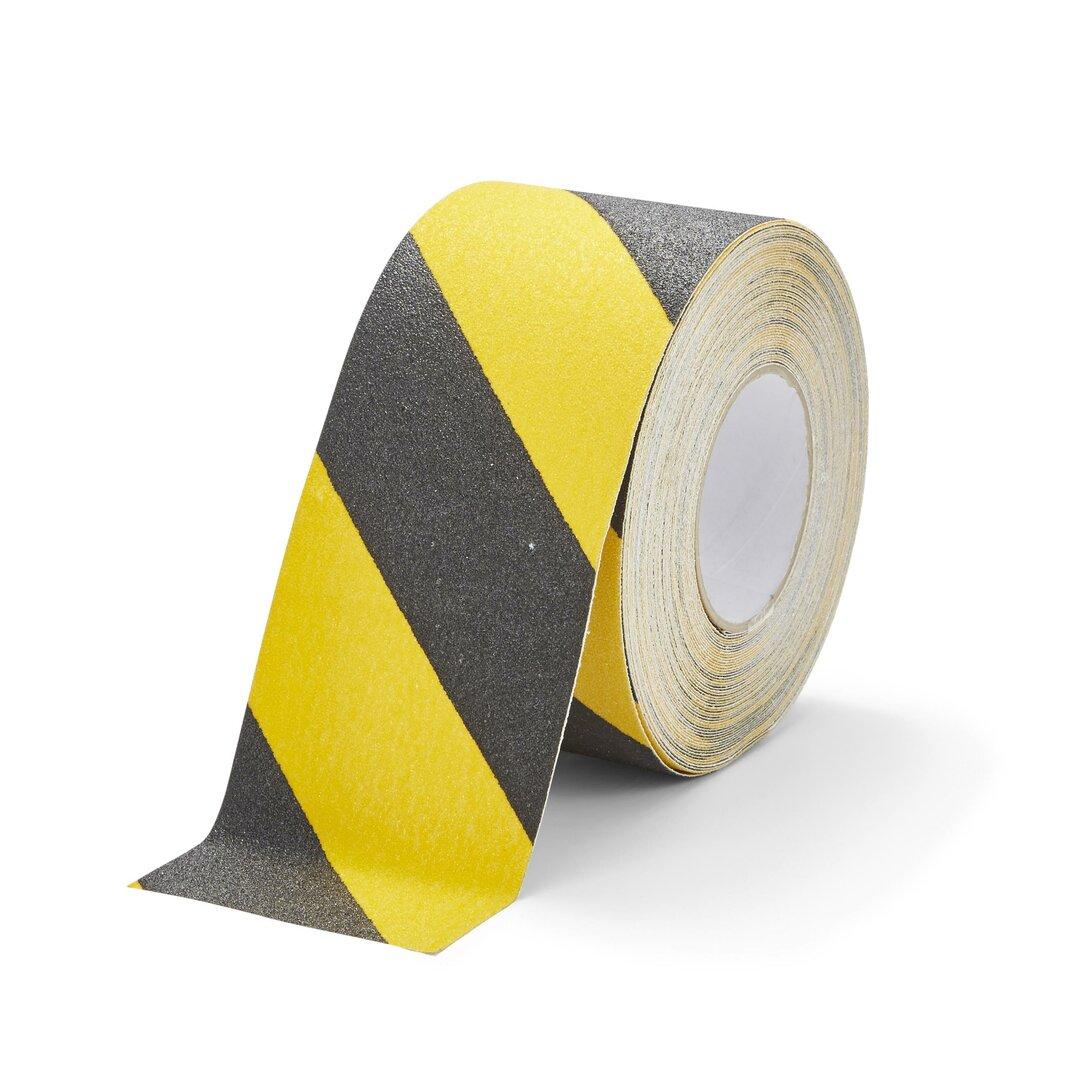 Černo-žlutá korundová protiskluzová páska FLOMA Hazard Standard - délka 18,3 m, šířka 10 cm a tloušťka 0,7 mm