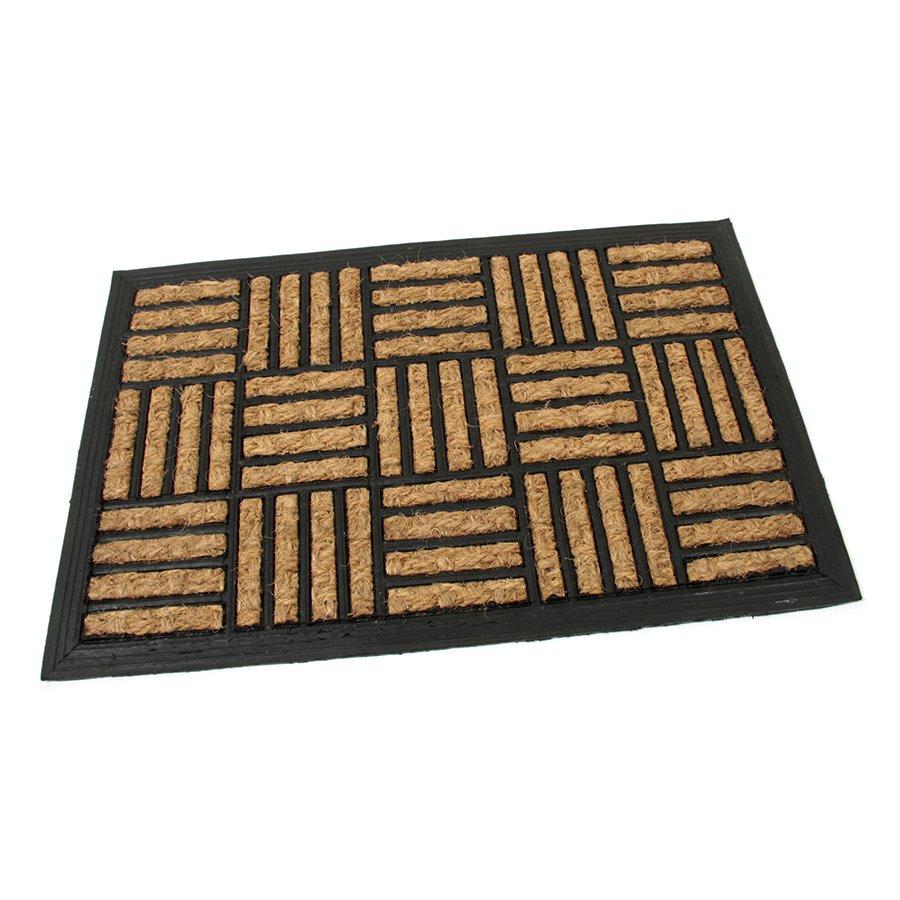 Kokosová čistící venkovní vstupní rohož Lines - Squares, FLOMA - délka 40 cm, šířka 60 cm a výška 0,8 cm