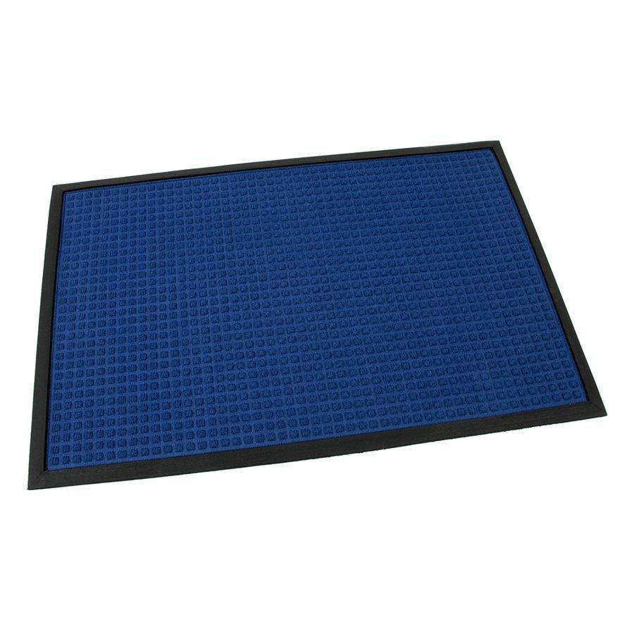 Modrá textilní gumová čistící vstupní rohož Little Squares, FLOMA - délka 60 cm, šířka 90 cm a výška 0,8 cm