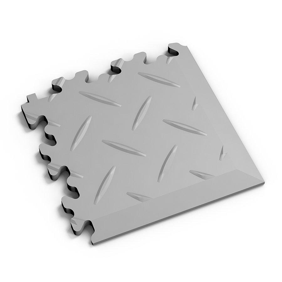 Šedý vinylový plastový rohový nájezd 2016 (diamant), Fortelock - délka 14 cm, šířka 14 cm a výška 0,7 cm