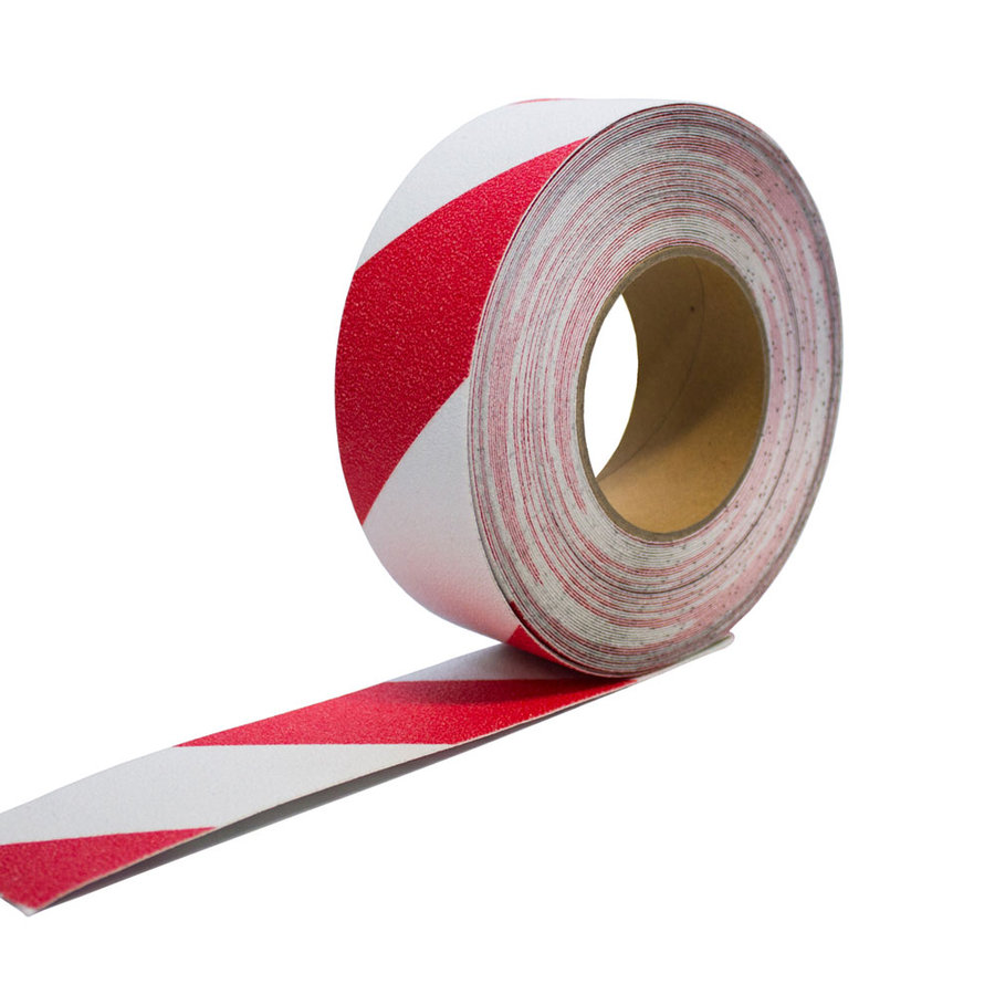 Bílo-červená korundová protiskluzová samolepící podlahová páska - délka 18,3 m a šířka 5 cm