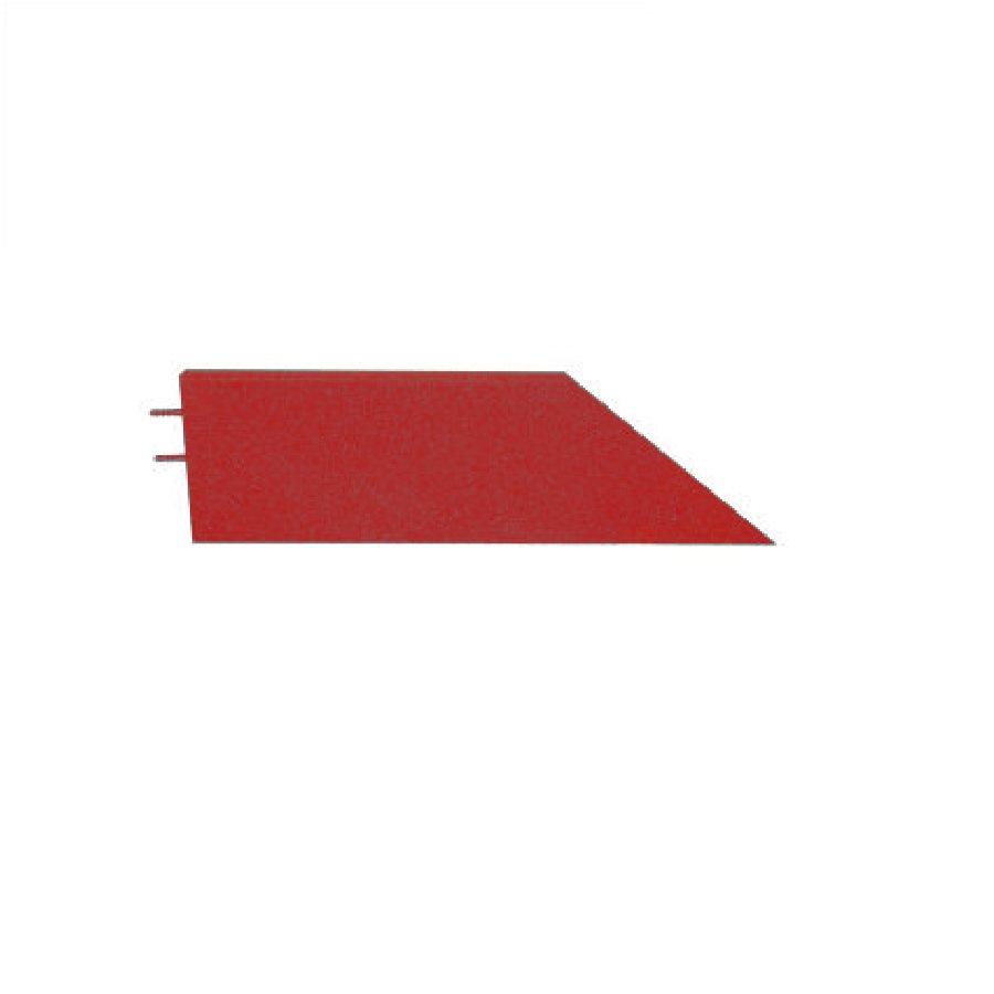 Červený levý nájezd (roh) pro gumové dlaždice - délka 75 cm, šířka 30 cm a výška 6,5 cm