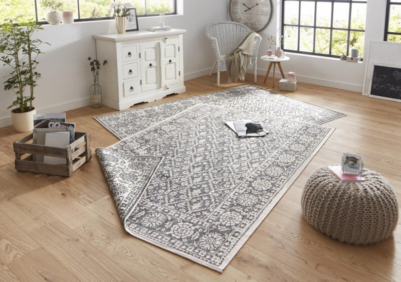 Šedý oboustranný orientální moderní koberec Twin-Wendeteppiche