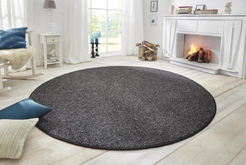 Černý moderní kusový kulatý koberec Wolly - průměr 133 cm