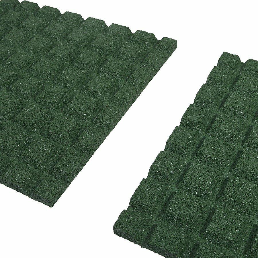 Zelená gumová dopadová dlaždice (V30/R15) FLOMA - délka 50 cm, šířka 50 cm a výška 3 cm