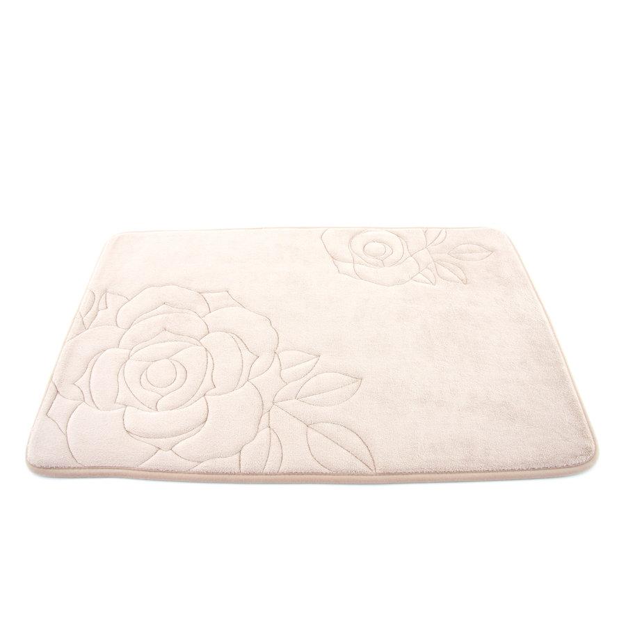 Béžová pěnová koupelnová předložka Flower - délka 80 cm a šířka 50 cm