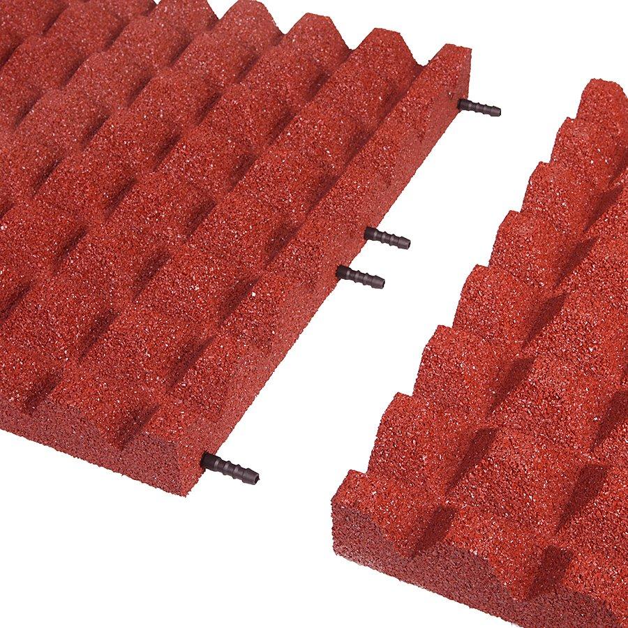 Červená gumová dopadová dlaždice (V55/R28) FLOMA - délka 50 cm, šířka 50 cm a výška 5,5 cm