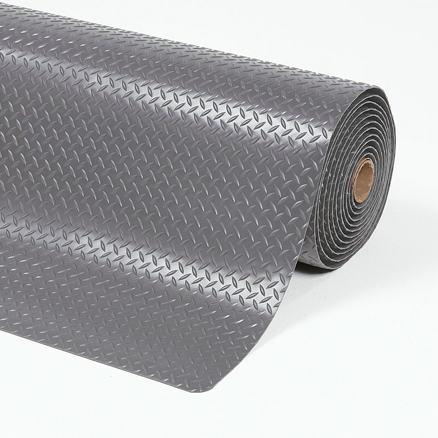 Šedá protiúnavová laminovaná průmyslová rohož Cushion Trax - délka 150 cm, šířka 91 cm a výška 1,4 cm