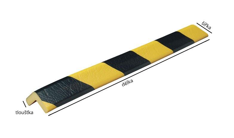 Černo-žlutý polyuretanový ochranný pás (roh) - délka 1 m, šířka 2,6 cm a tloušťka 0,7 cm