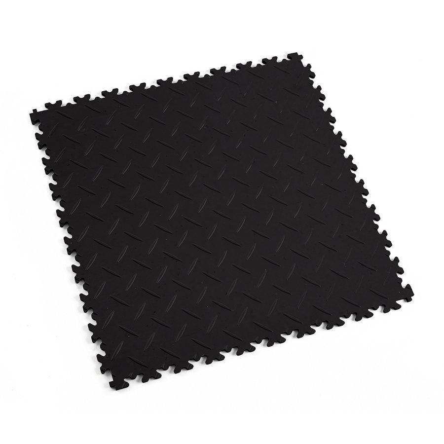 Plastová dlaždice Fortelock Industry, ECO - černá barva, dezén diamant.