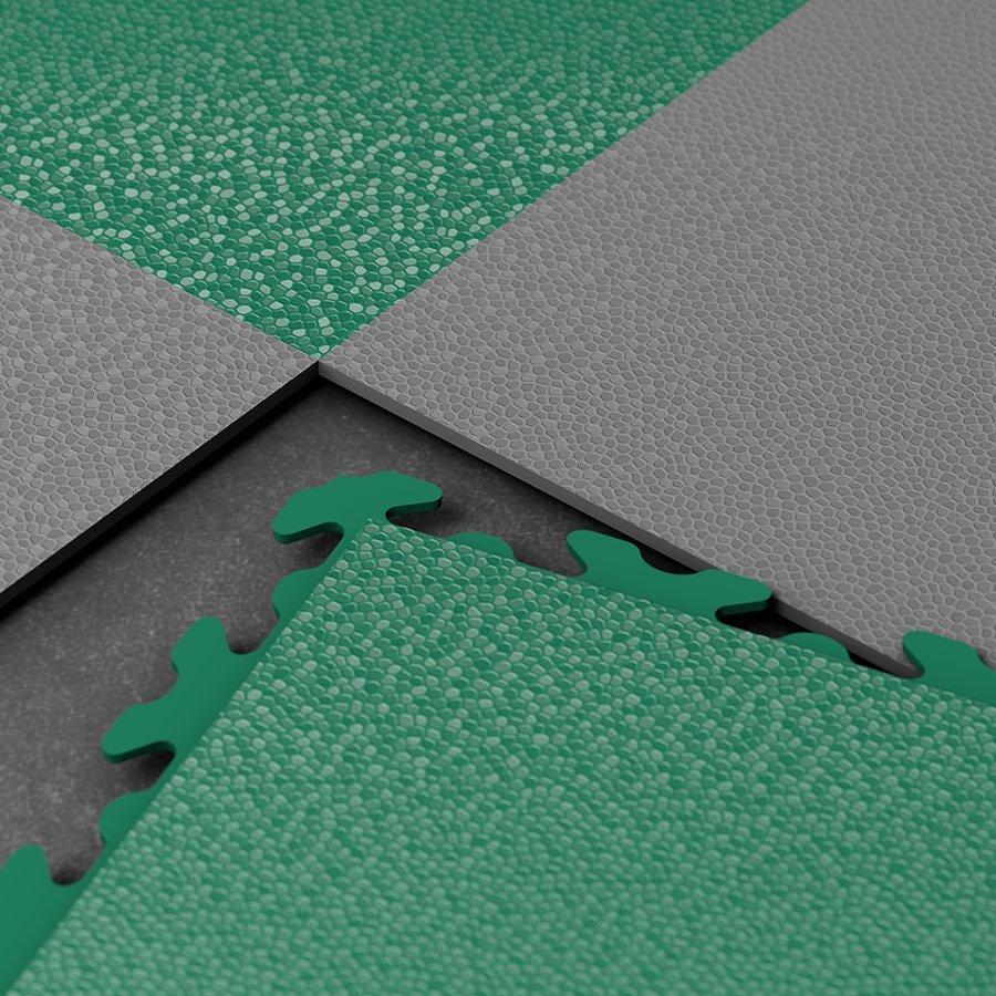 Plastové dlaždice Fortelock ve verzi Invisible - zelená a grafitová barva, dezén hadí kůže.